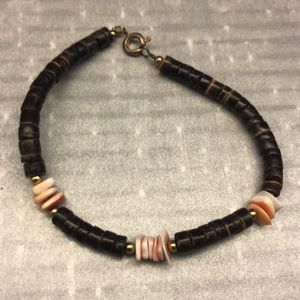 Jewelry - Brown Wooden Bracelet with Pooka Shells